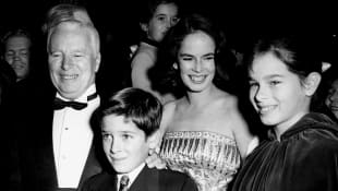 Charlie Chaplin with his wife Ooana and children Michael and Geraldine
