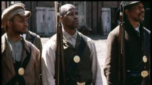 "Denzel Washington as Private ""Silas Trip"" in the 1998 movie 'Glory'."