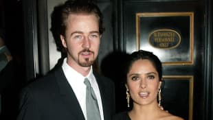 Edward Norton and Salma Hayek at the premiere of 'Red Dragon' in 2002