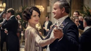 """Elizabeth McGovern and Hugh Bonneville as """"Cora"""" and """"Robert"""" in Downton Abbey."""