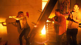 Emma Watson, Jonah Hill, and Seth Rogen in 'This Is The End'