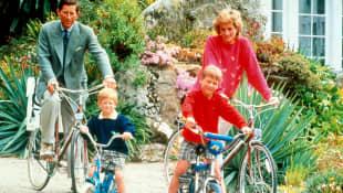Prince Charles, Prince Harry, Prince William and Princess Diana on a bike ride