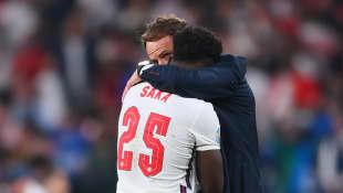 Bukayo Saka and Gareth Southgate