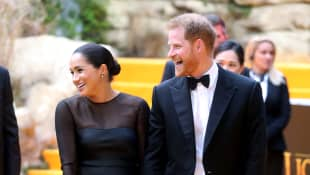 Prince Harry and Duchess Meghan at the London premiere of The Lion King