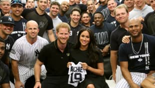 Prince Harry and Duchess Meghan with the New York Yankees