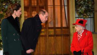 Duchess Kate, Prince William and Queen Elizabeth II.