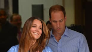 Duchess Kate and Prince William at the birth of Prince George