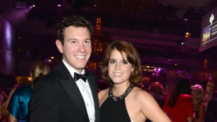 Jack Brooksbank and Princess Eugenie of York pose at the Boodles Boxing Ball 2013 on September 21, 2013 at the Grosvenor House in London,England