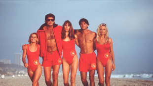 The cast of 'Baywatch': Kelly Packard, David Hasselhoff, Alexandra Paul, Jeremy Jackson, Pamela Anderson