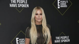 Khloé Kardashian attends the 2019 E! People's Choice Awards at Barker Hangar on November 10, 2019