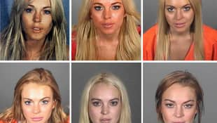 This composite image compares the six booking photos of actress Lindsay Lohan.
