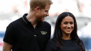 Duchess Meghan and Prince Harry at an MLB game in London