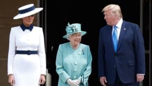 Melania Trump, Queen Elizabeth II and President Donald Trump State Visit Buckingham Palace