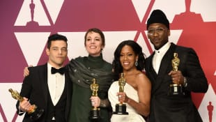 Rami Malek, Olivia Colman, Regina King and Mahershala Ali at the 2019 Oscars