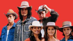 Michel Brown, Mario Cimarro, Juan Alfonso Baptista, Paola Rey, Danna García y Natasha Klauss en una imagen promocional de 'Pasión de gavilanes'