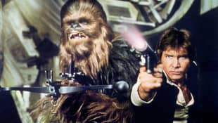 Peter Mayhew & Harrison Ford in 'Star Wars: Episode IV - A New Hope' (USA 1977).