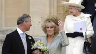 Prince Charles, Duchess Camilla, and Queen Elizabeth II