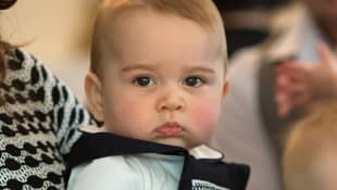 Prince George during a Plunket nurse and parents group visit at Government House in Wellington on April 9, 2014.