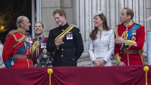 Prince Philip, Prince Edward, Prince Harry, Duchess Kate, and Prince William