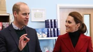 Prince William and Duchess Catherine visit a local business in their former home of Anglesey, Wales.