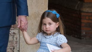 Princess Charlotte of Cambridge leaves after Prince Louis of Cambridge's christening at the Chapel Royal, St James's Palace, London on July 09, 2018
