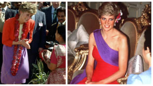 Princess Diana looking beautiful in red and purple