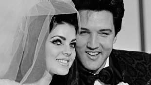 Priscilla Presley and Elvis Presley on their wedding day
