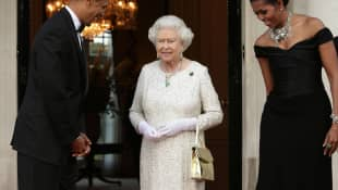 Queen Elizabeth, Barack Obama and Michelle Obama