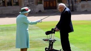 Queen Elizabeth II and Captain Sir Thomas Moore
