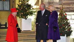 Queen Elizabeth, Prince Charles, and Duchess Camilla