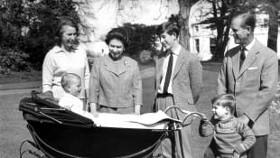 Princess Anne, Prince Edward, Queen Elizabeth, Prince Charles, Prince Andrew, and Prince Philip