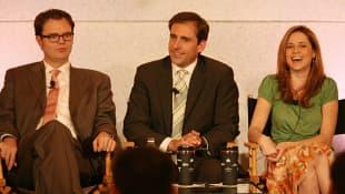 Rainn Wilson, Steve Carell and Jenna Fische