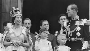 La reina Isabel II, el príncipe Carlos, la princesa Ana y el duque de Edimburgo.