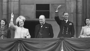 VE Day Princess Elizabeth, Queen Elizabeth, Winston Churchill, King George VI and Princess Margaret