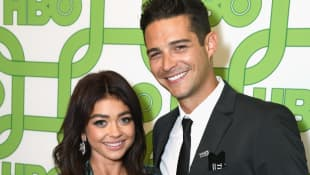 Sarah Hyland and Wells Adams on the red carpet at HBO's Official Golden Globe After Party