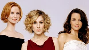 Cynthia Nixon, Sarah Jessica Parker and Kristin Davis in a promotional image for the series 'Sex and the City'