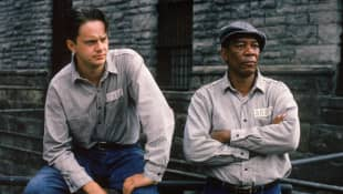 """Tim Robbins and Morgan Freeman as """"Andy Dufresne"""" and """"Red"""" in Shawshank Redemption."""