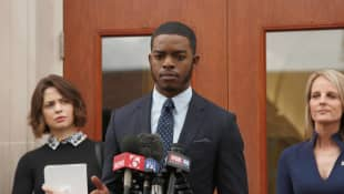 Stephan James and Helen Hunt in 'Shots Fired'