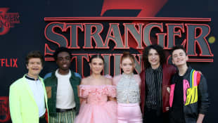 The cast of Stranger Things on the red carpet at the season 3 premiere.