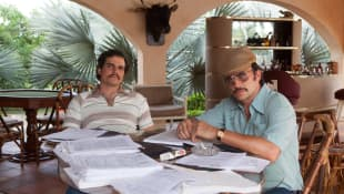 Narcos Gustavo actor Juan Pablo Raba during a scene from season 1 of the series 'Narcos'