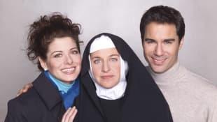 Debra Messing, Ellen DeGeneres, and Erick McCormack in 'Will & Grace'