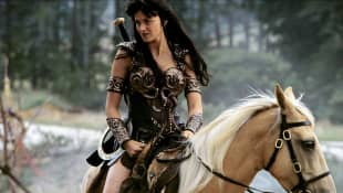 "Lucy Lawless as ""Xena"" in 'Xena: Warrior Princess'."