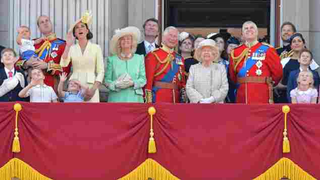 The British Royal Family observes flyover at Trooping the Colour 2019. Meghan Markle press attacks.