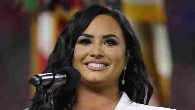 Demi Lovato performing at Super Bowl LIV 2020