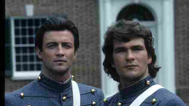 """James Read and Patrick Swayze as """"George Hazard"""" and """"Orry Main"""" in North and South"""