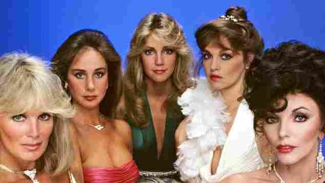 The women of Dynasty: Linda Evans, Pamela Bellwood, Heather Locklear, Pamela Sue Martin and Joan Collins