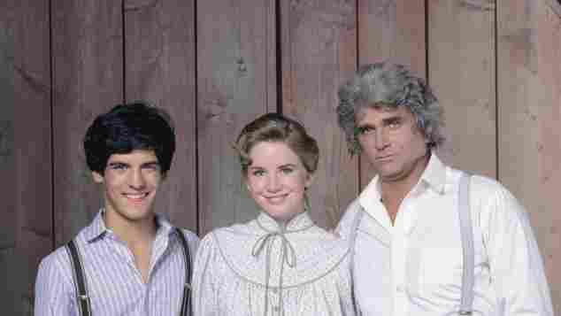 Matthew Layorteaux, Melissa Gilbert and Michael Landon in 1982.