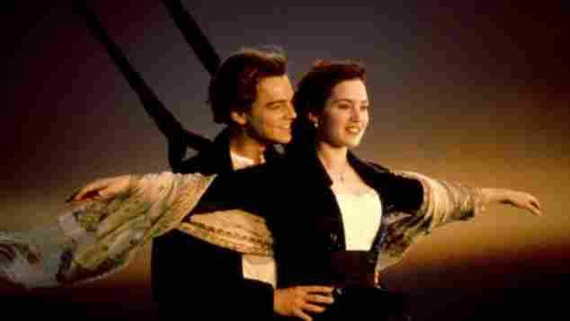 Leonardo DiCpario and Kate Winslet in 'Titanic' in 1997.