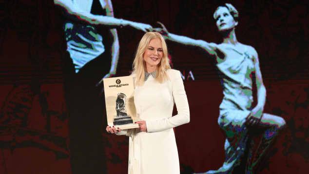Nicole Kidman receiving the Taormina Arte Award in Taormina, Italy, July 2019.