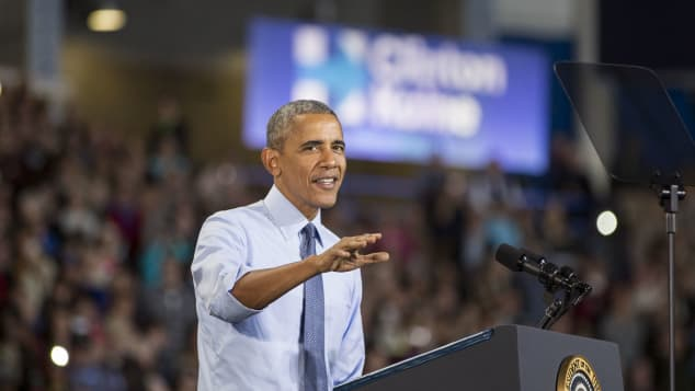 Former President Barack Obama on stage during a campaign event for Democratic presidential nominee former Secretary of State Hillary Clinton at the University of New Hampshire